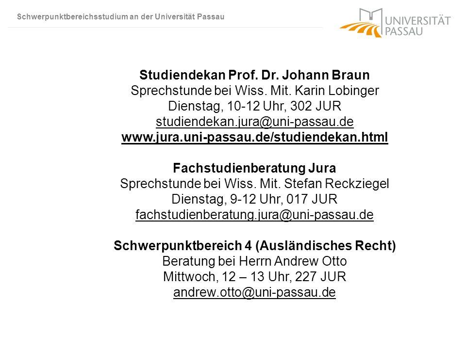 Studiendekan Prof. Dr. Johann Braun Sprechstunde bei Wiss. Mit