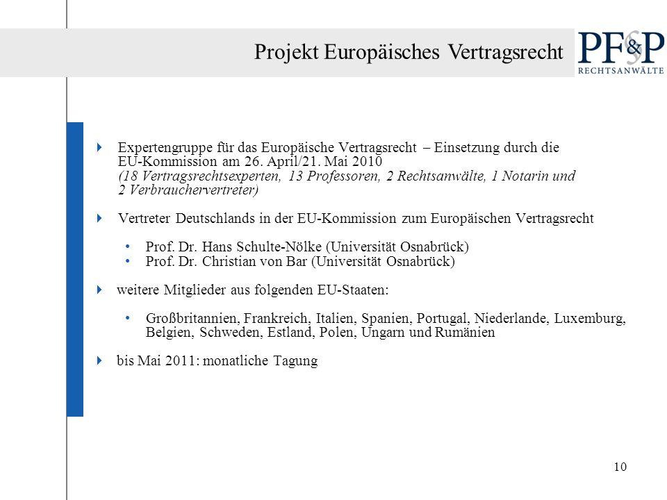 Projekt Europäisches Vertragsrecht