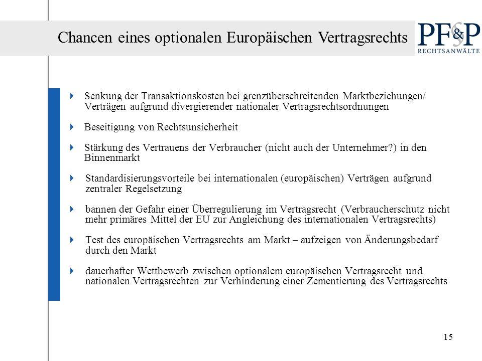 Chancen eines optionalen Europäischen Vertragsrechts