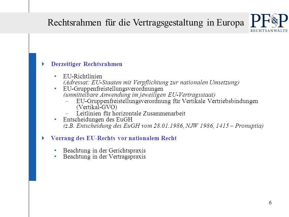 Rechtsrahmen für die Vertragsgestaltung in Europa