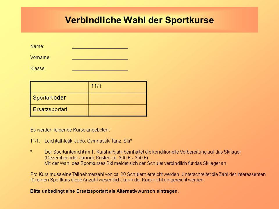 Verbindliche Wahl der Sportkurse