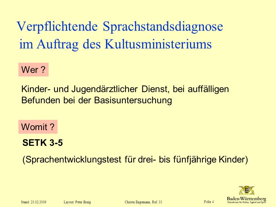 Verpflichtende Sprachstandsdiagnose
