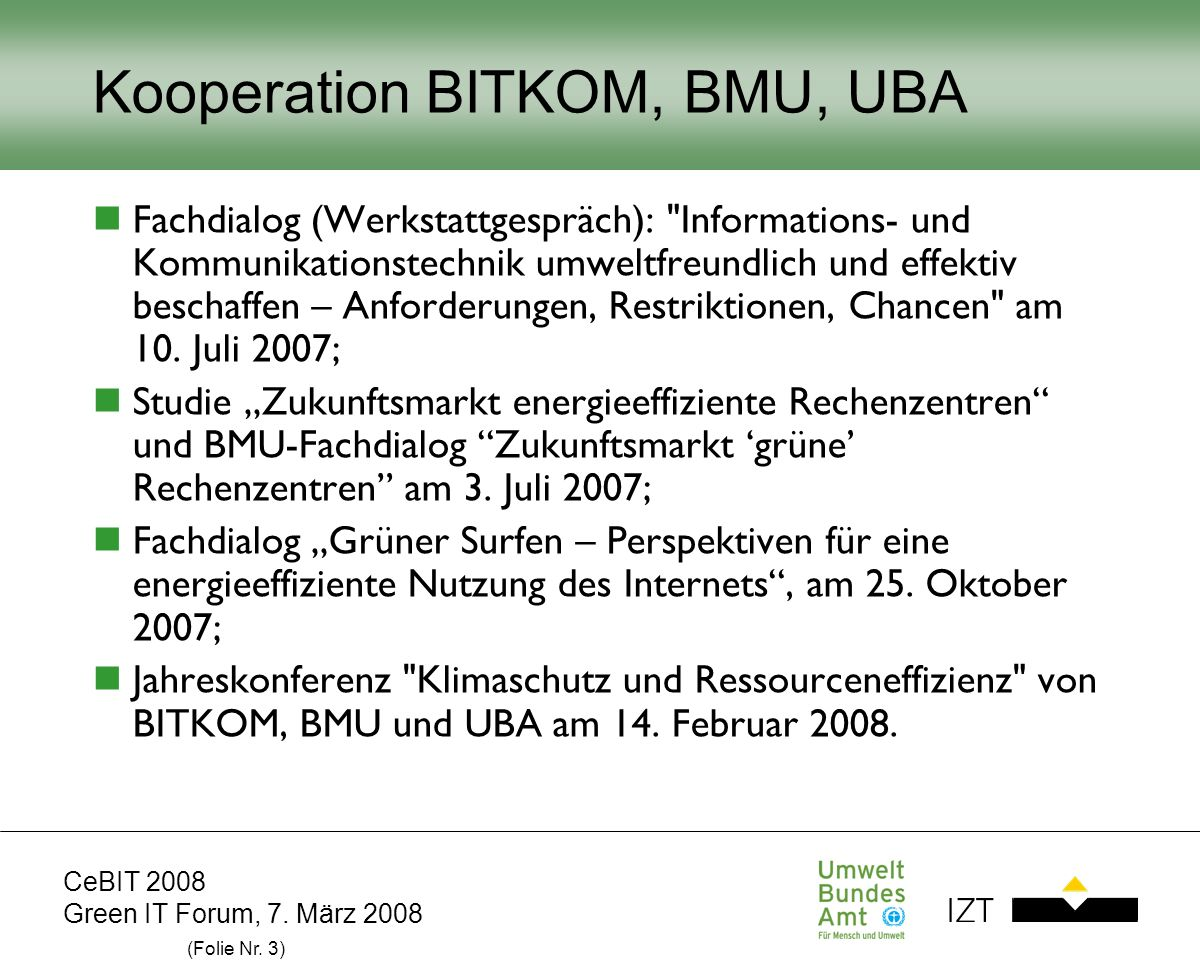 Kooperation BITKOM, BMU, UBA