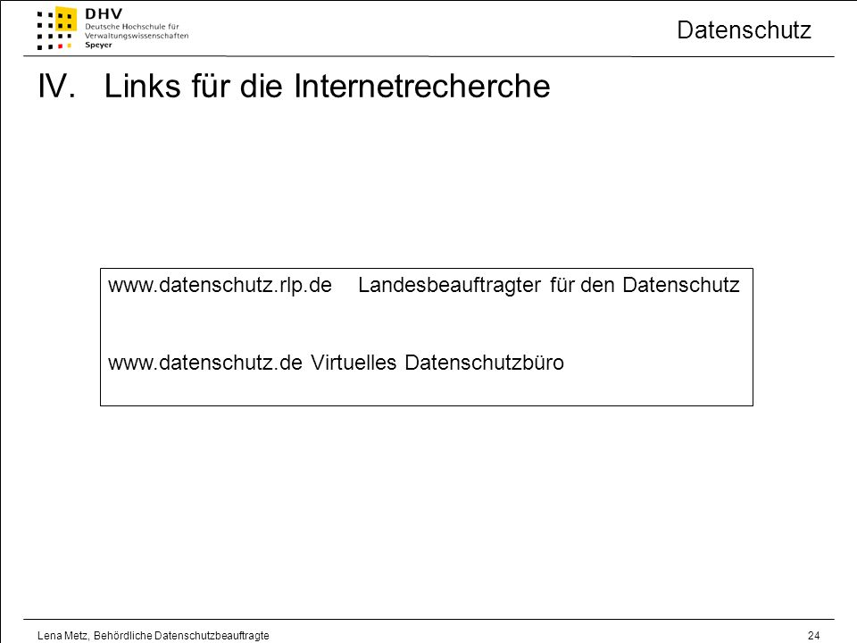 Links für die Internetrecherche