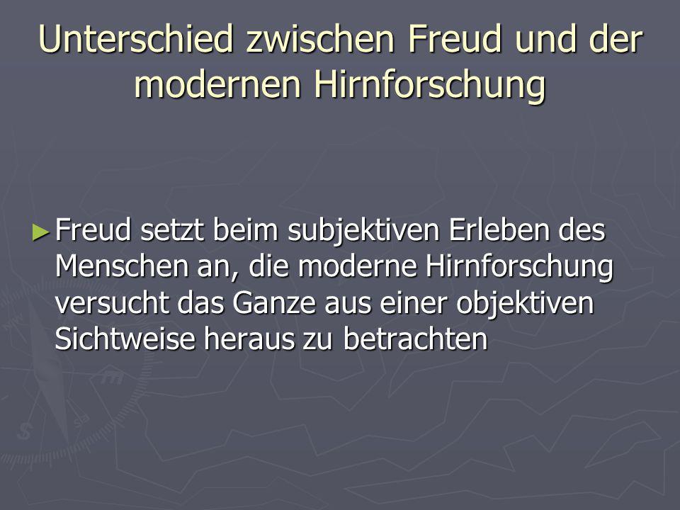 Unterschied zwischen Freud und der modernen Hirnforschung