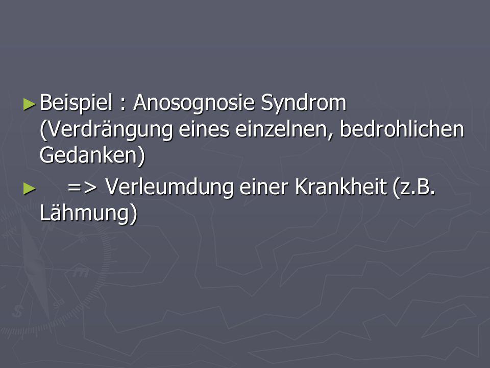 Beispiel : Anosognosie Syndrom (Verdrängung eines einzelnen, bedrohlichen Gedanken)