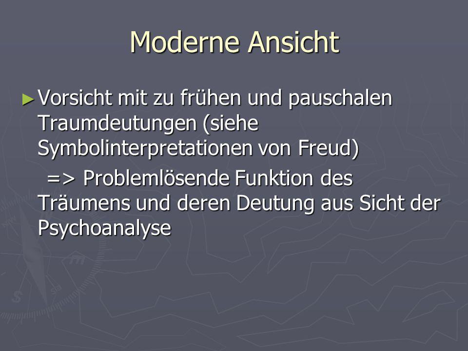 Moderne Ansicht Vorsicht mit zu frühen und pauschalen Traumdeutungen (siehe Symbolinterpretationen von Freud)