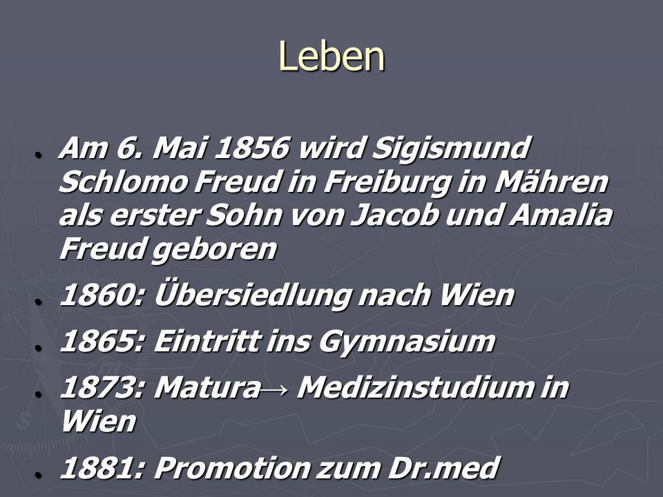 Leben Am 6. Mai 1856 wird Sigismund Schlomo Freud in Freiburg in Mähren als erster Sohn von Jacob und Amalia Freud geboren.