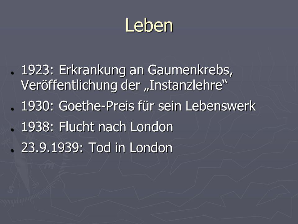"""Leben 1923: Erkrankung an Gaumenkrebs, Veröffentlichung der """"Instanzlehre 1930: Goethe-Preis für sein Lebenswerk."""