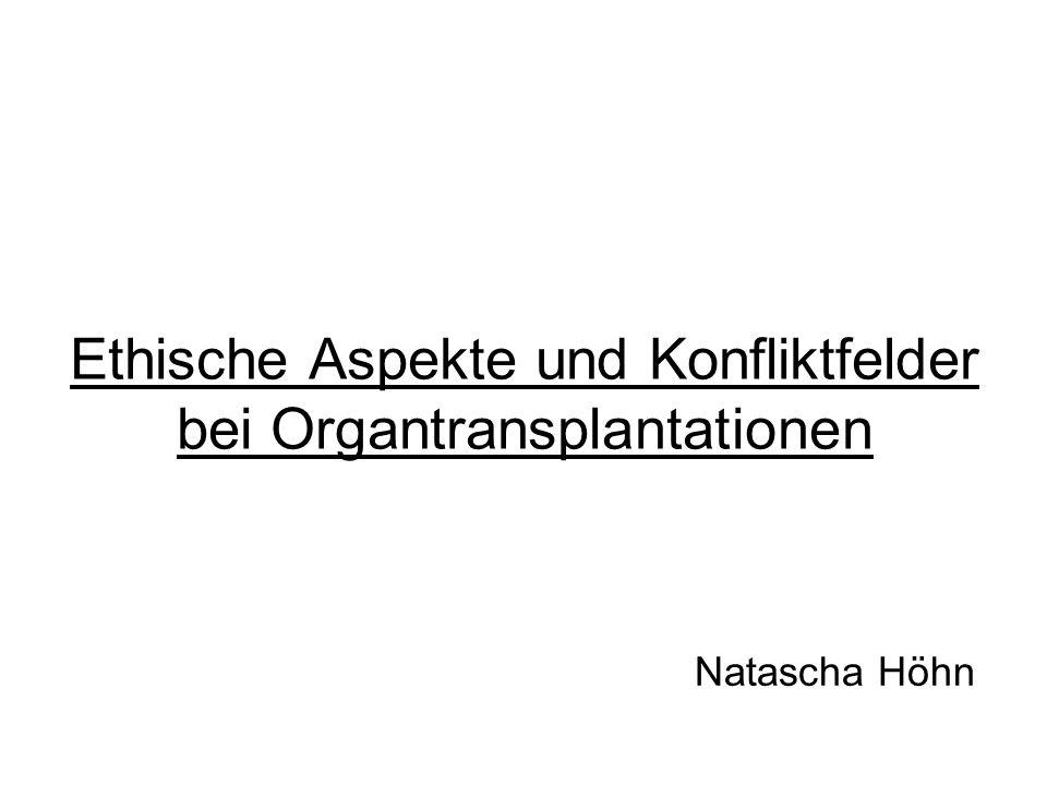 Ethische Aspekte und Konfliktfelder bei Organtransplantationen