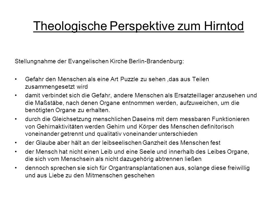 Theologische Perspektive zum Hirntod