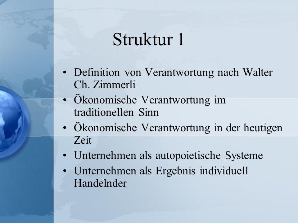 Struktur 1 Definition von Verantwortung nach Walter Ch. Zimmerli