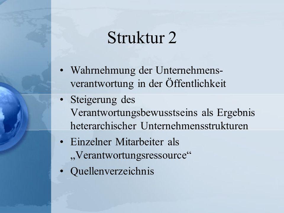 Struktur 2 Wahrnehmung der Unternehmens-verantwortung in der Öffentlichkeit.