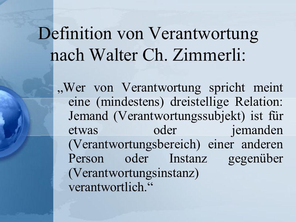 Definition von Verantwortung nach Walter Ch. Zimmerli: