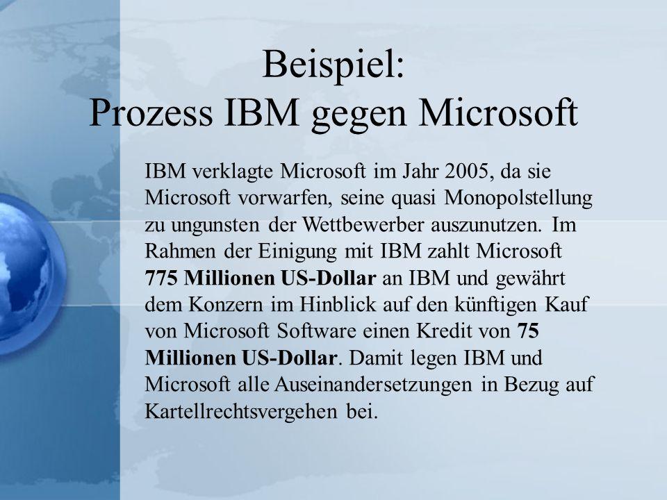 Beispiel: Prozess IBM gegen Microsoft