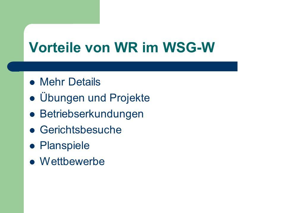 Vorteile von WR im WSG-W