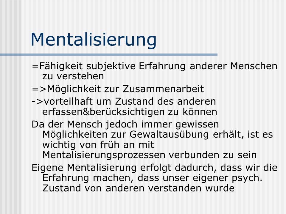 Mentalisierung =Fähigkeit subjektive Erfahrung anderer Menschen zu verstehen. =>Möglichkeit zur Zusammenarbeit.