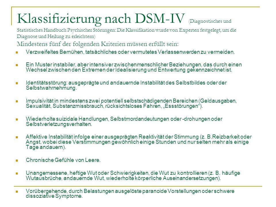 Klassifizierung nach DSM-IV (Diagnostisches und Statistisches Handbuch Psychischer Störungen: Die Klassifikation wurde von Experten festgelegt, um die Diagnose und Heilung zu erleichtern) Mindestens fünf der folgenden Kriterien müssen erfüllt sein: