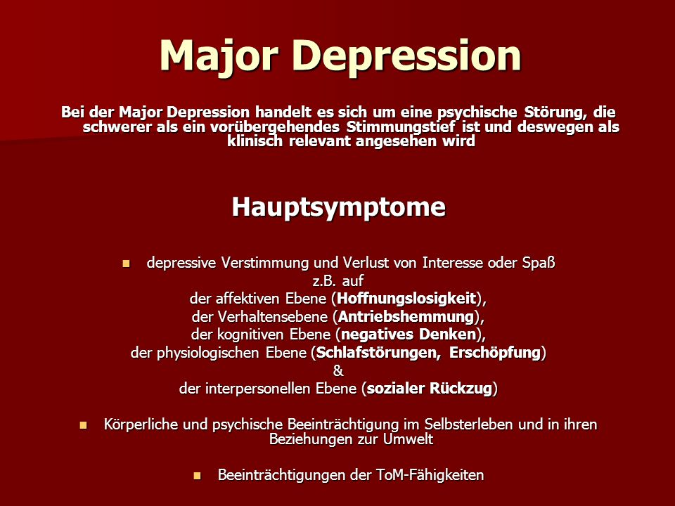 Major Depression Hauptsymptome