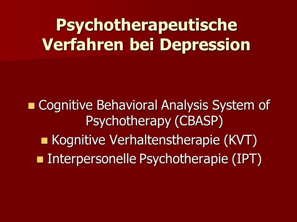 Psychotherapeutische Verfahren bei Depression