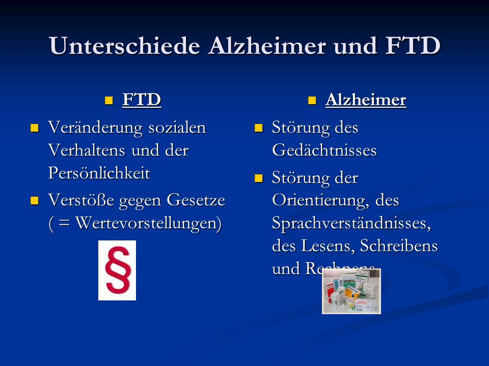 Unterschiede Alzheimer und FTD