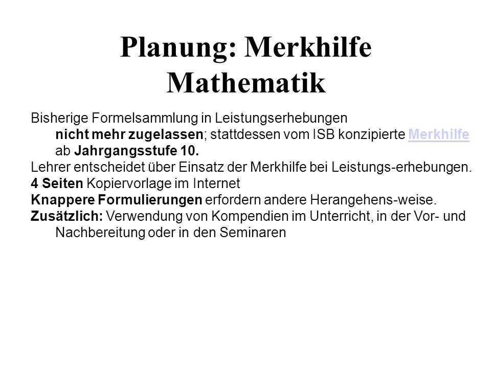 Planung: Merkhilfe Mathematik