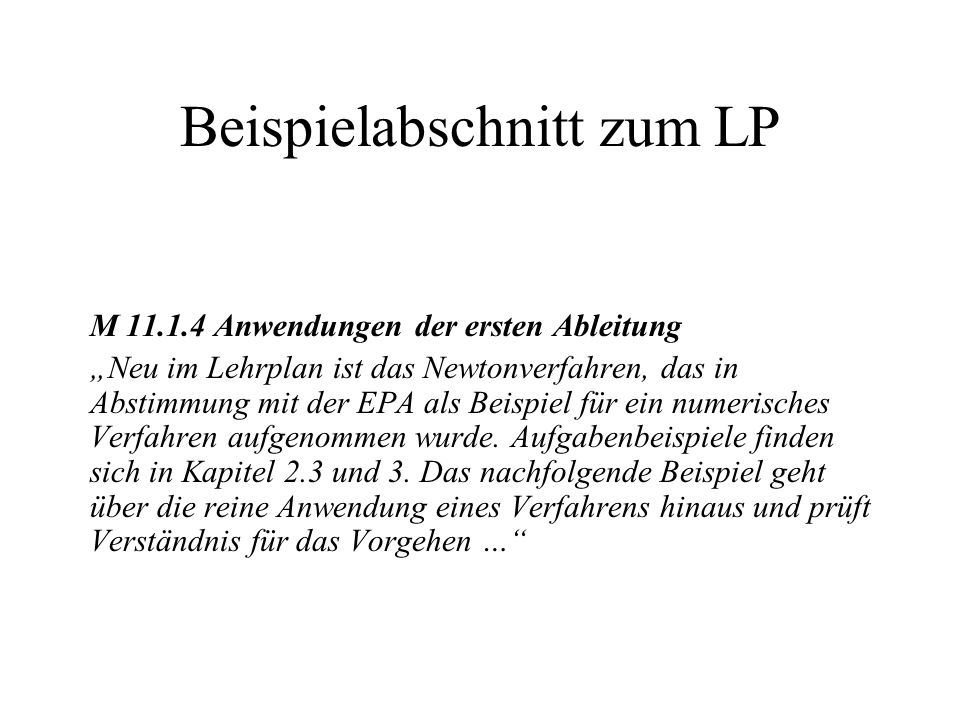 Beispielabschnitt zum LP