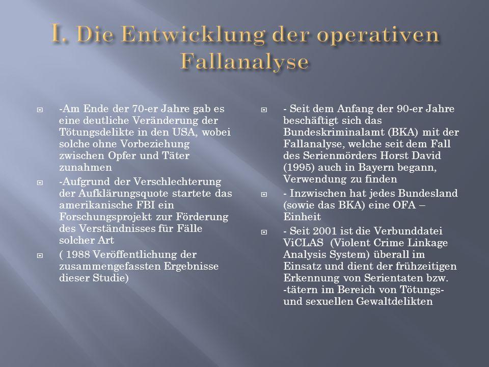 I. Die Entwicklung der operativen Fallanalyse