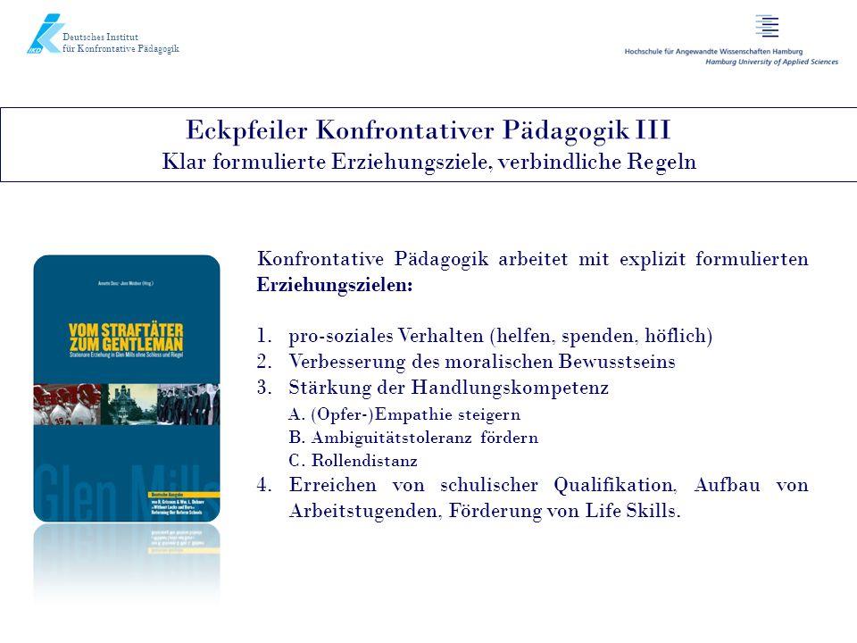 Deutsches Institut für Konfrontative Pädagogik. Eckpfeiler Konfrontativer Pädagogik III Klar formulierte Erziehungsziele, verbindliche Regeln.