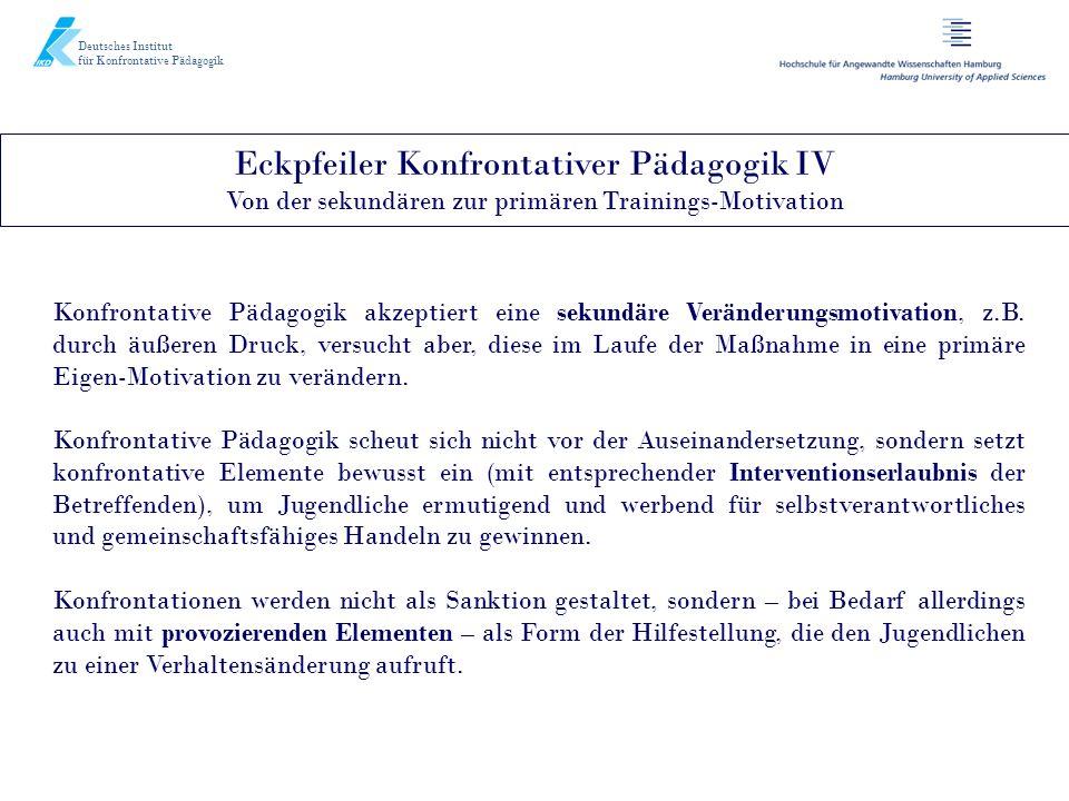 Deutsches Institut für Konfrontative Pädagogik. Eckpfeiler Konfrontativer Pädagogik IV Von der sekundären zur primären Trainings-Motivation.