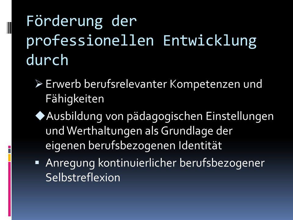 Förderung der professionellen Entwicklung durch