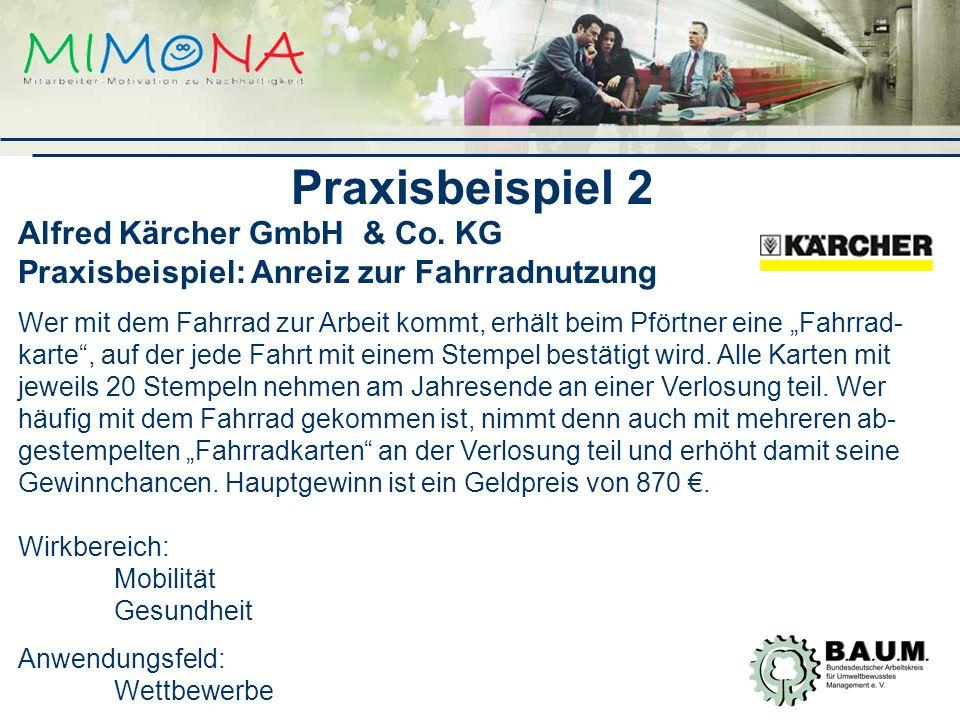 Praxisbeispiel 2 Alfred Kärcher GmbH & Co. KG Praxisbeispiel: Anreiz zur Fahrradnutzung.