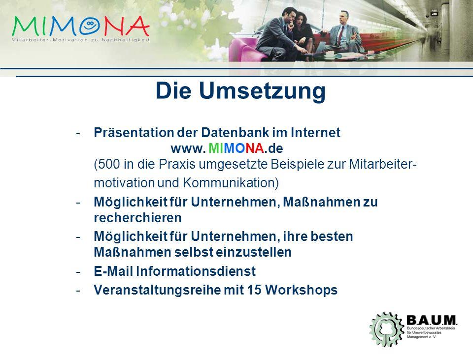 Die Umsetzung Präsentation der Datenbank im Internet www. MIMONA.de (500 in die Praxis umgesetzte Beispiele zur Mitarbeiter-