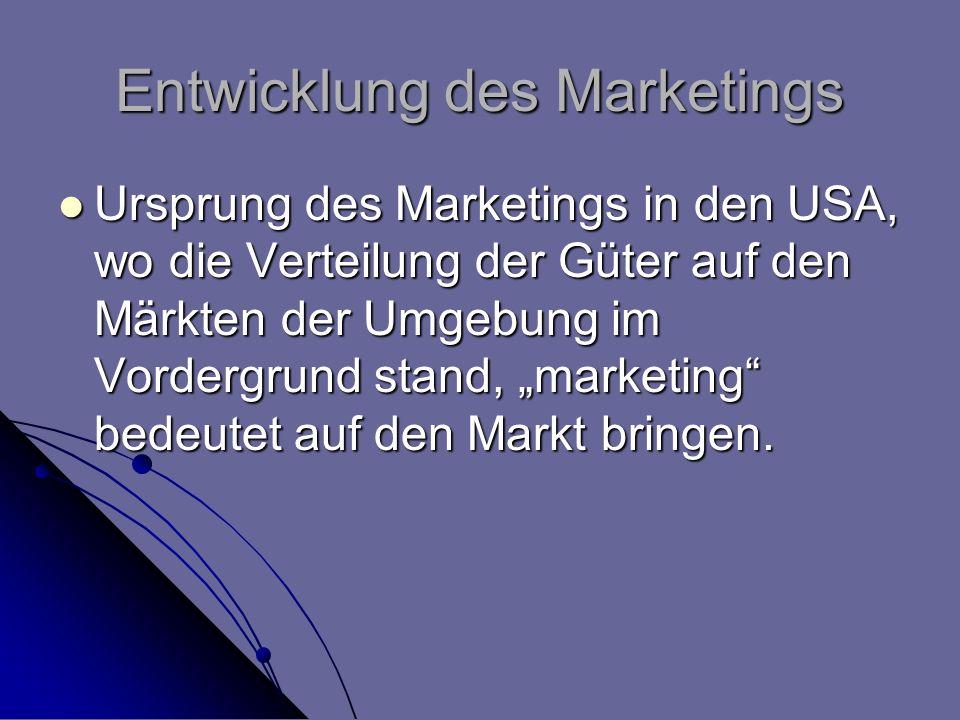 Entwicklung des Marketings