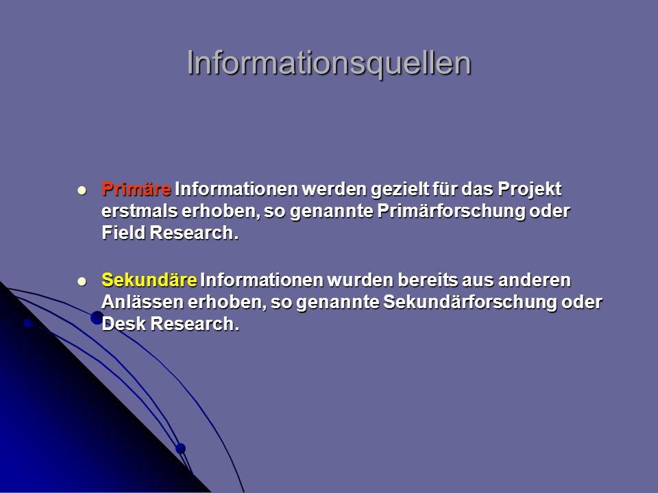 Informationsquellen Primäre Informationen werden gezielt für das Projekt erstmals erhoben, so genannte Primärforschung oder Field Research.