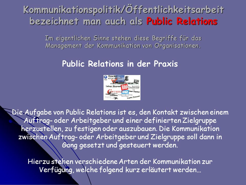 Public Relations in der Praxis