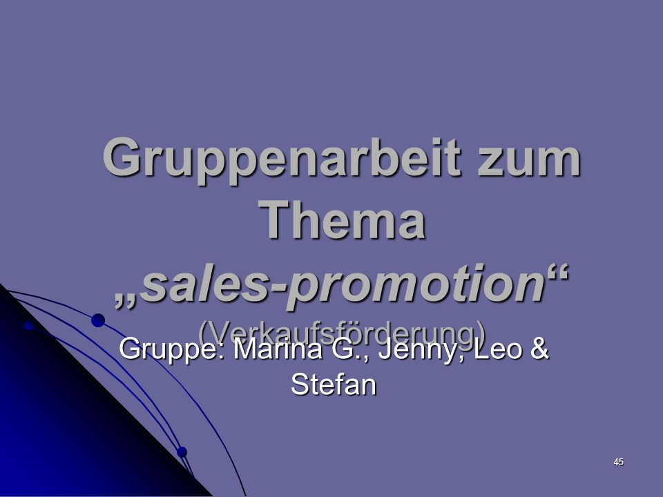 """Gruppenarbeit zum Thema """"sales-promotion (Verkaufsförderung)"""