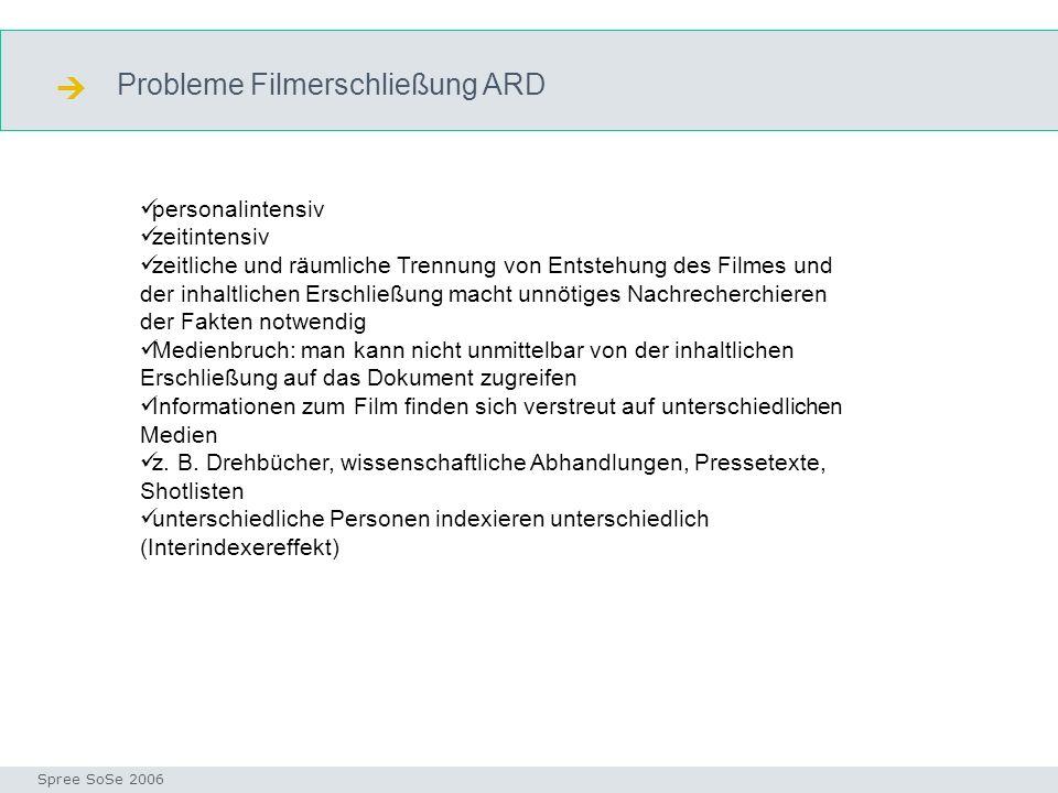  Probleme Filmerschließung ARD personalintensiv zeitintensiv