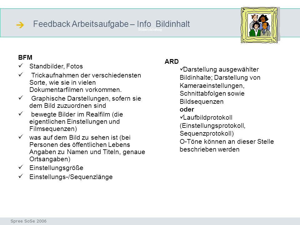  Feedback Arbeitsaufgabe – Info Bildinhalt BFM Standbilder, Fotos ARD