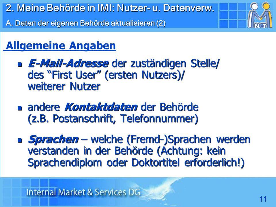 andere Kontaktdaten der Behörde (z.B. Postanschrift, Telefonnummer)