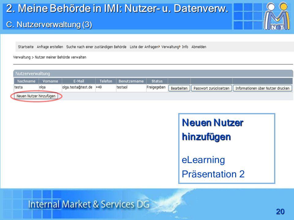 2. Meine Behörde in IMI: Nutzer- u. Datenverw.