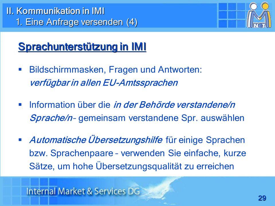 Sprachunterstützung in IMI