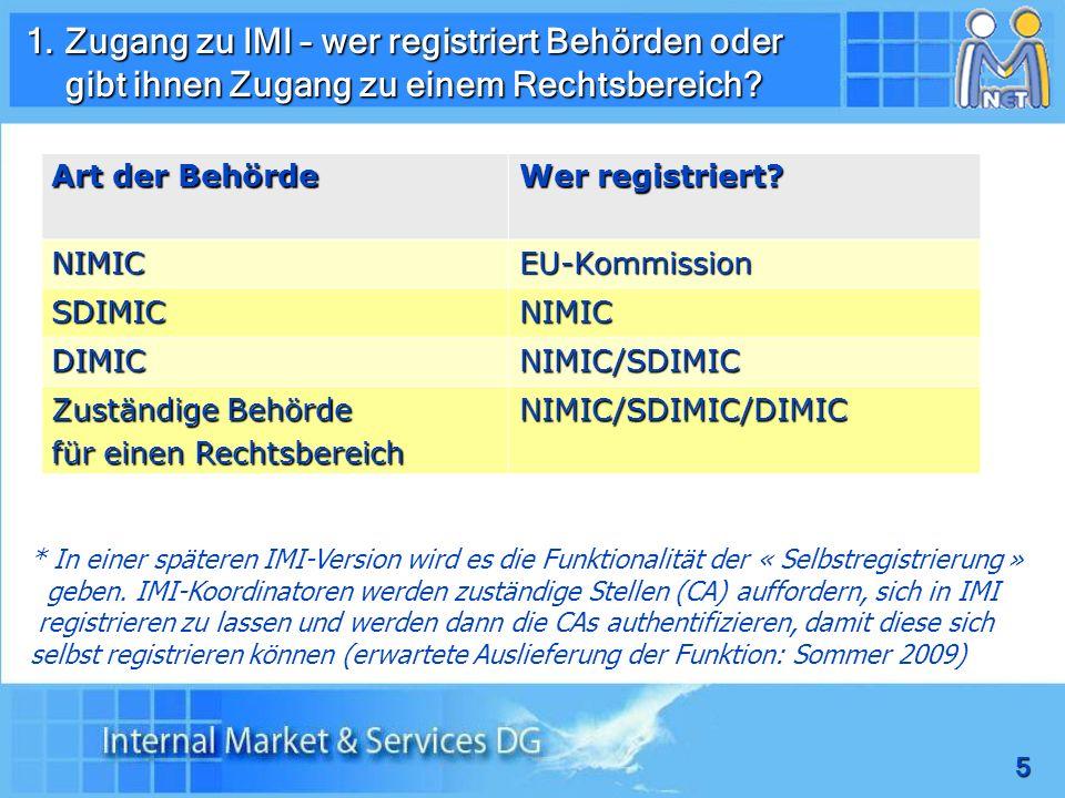 Zugang zu IMI – wer registriert Behörden oder
