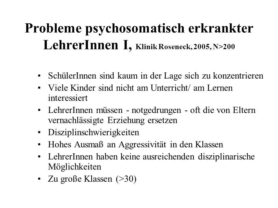 Probleme psychosomatisch erkrankter LehrerInnen I, Klinik Roseneck, 2005, N>200