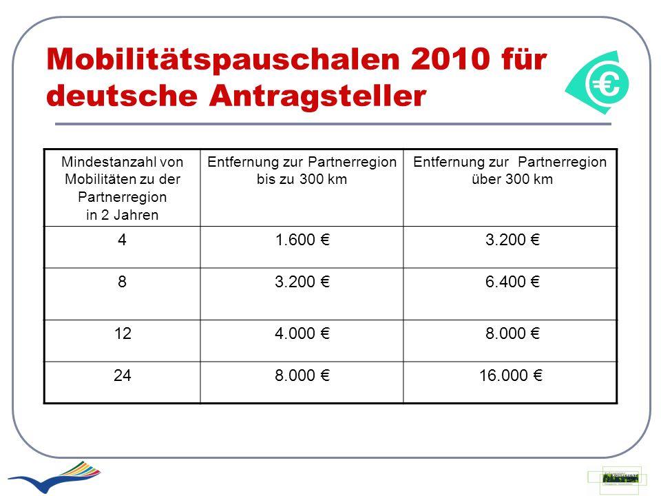 Mobilitätspauschalen 2010 für deutsche Antragsteller