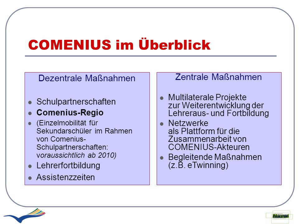 COMENIUS im Überblick Dezentrale Maßnahmen Zentrale Maßnahmen