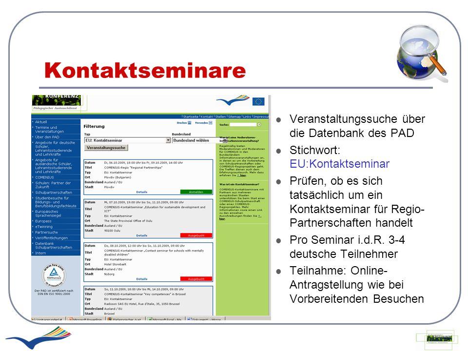 Kontaktseminare Veranstaltungssuche über die Datenbank des PAD