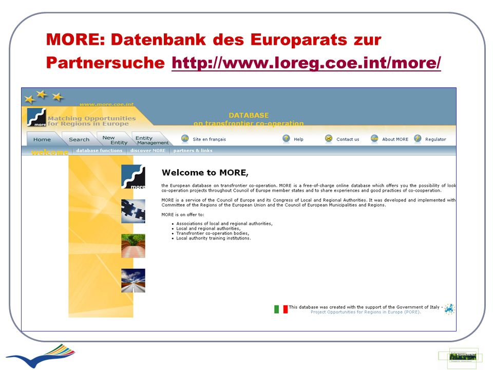 MORE: Datenbank des Europarats zur Partnersuche http://www. loreg. coe