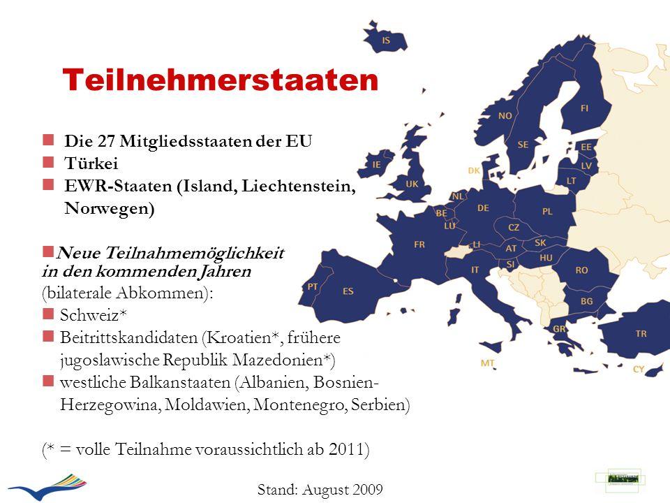 Teilnehmerstaaten Die 27 Mitgliedsstaaten der EU Türkei