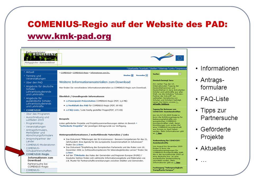 COMENIUS-Regio auf der Website des PAD: www.kmk-pad.org